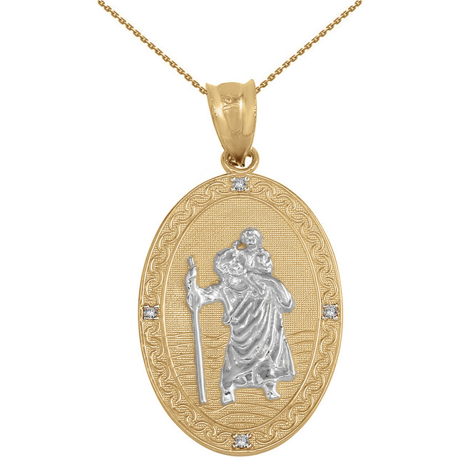 "Solid Yellow Two Tone Gold Saint Christopher Medallion Diamond Pendant Necklace ( 1.12"")"