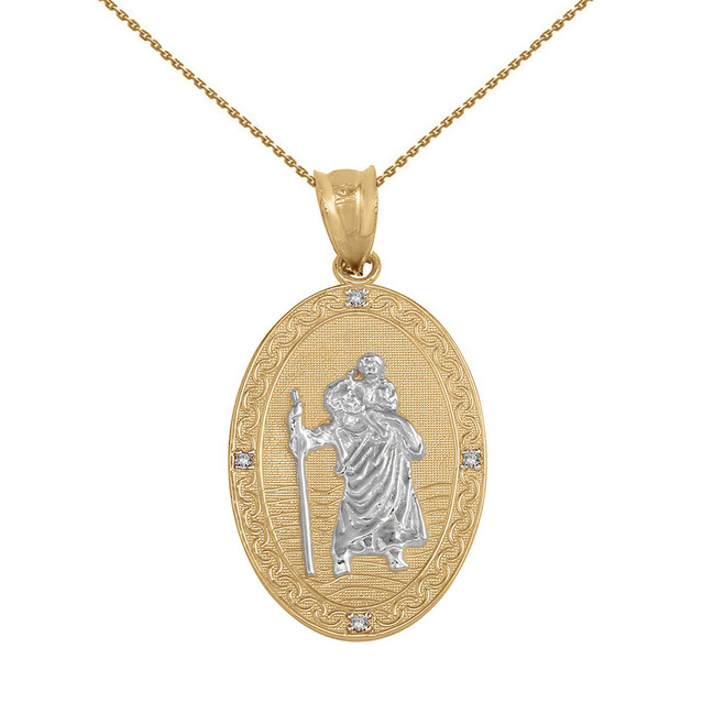 "Solid Yellow Two Tone Gold Saint Christopher Medallion Diamond Pendant Necklace ( 1"")"