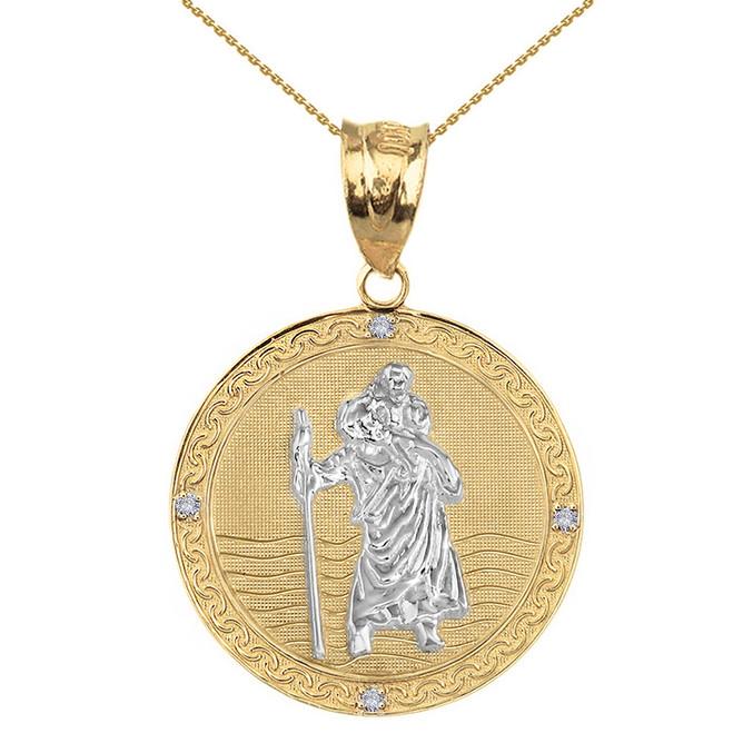 "Solid Yellow Two Tone Gold Saint Christopher Medallion Circle Diamond Pendant Necklace ( 1.16"")"