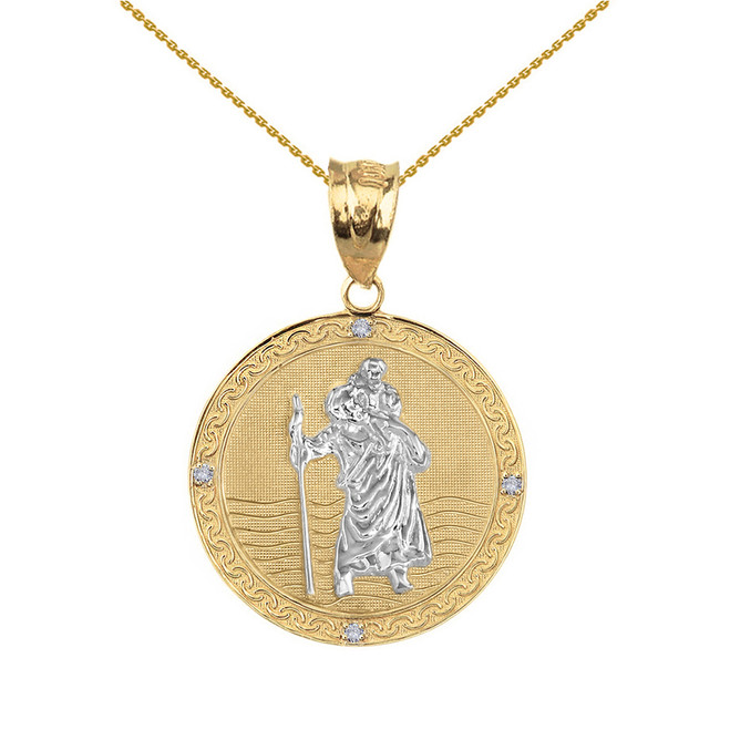 "Solid Yellow Two Tone Gold Saint Christopher Medallion Circle Diamond Pendant Necklace ( 1"")"