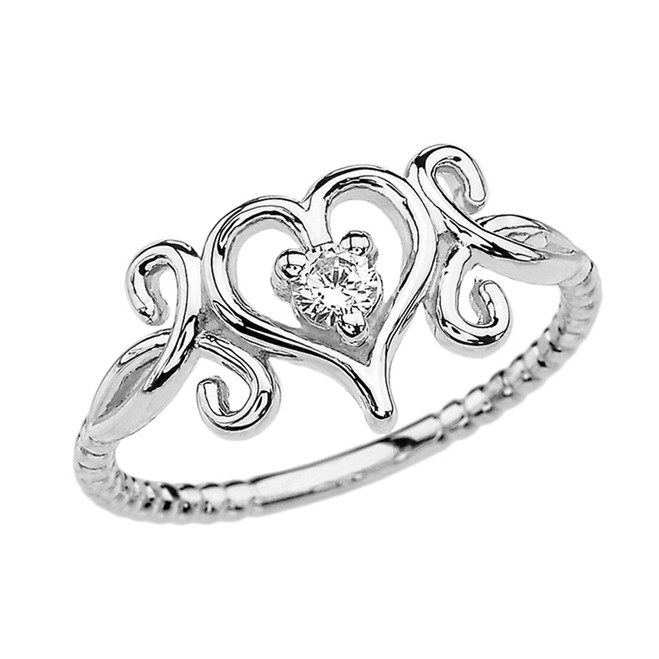 White Gold Dainty Open Heart Diamond Solitaire Rope Design Engagement Ring