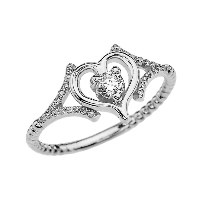 White Gold Dainty Open Heart Diamond Solitaire Rope Design Engagement/Proposal Ring
