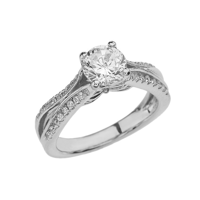 White Gold Double Raw CZ Proposal/Engagement Ring With Cubic Zirconia Center Stone