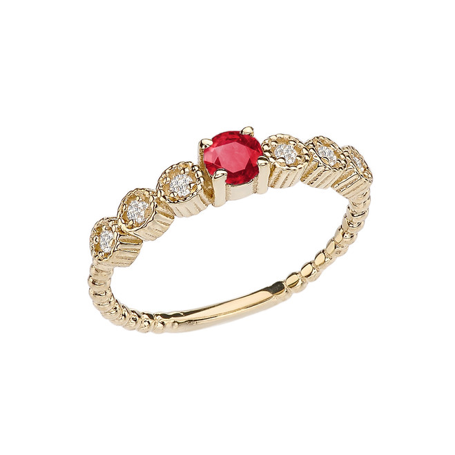 Diamond and Ruby Yellow Gold Stackable/Promise Beaded Popcorn Collection Ring