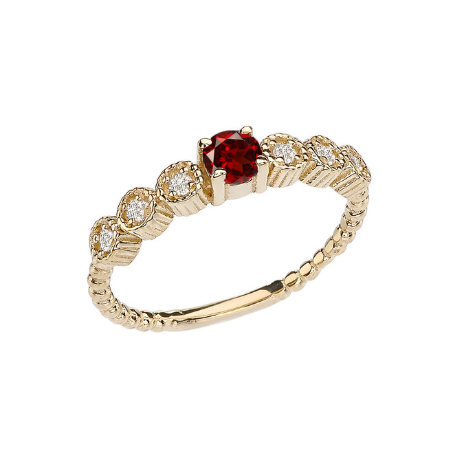 Diamond and Garnet Yellow Gold Stackable/Promise Beaded Popcorn Collection Ring
