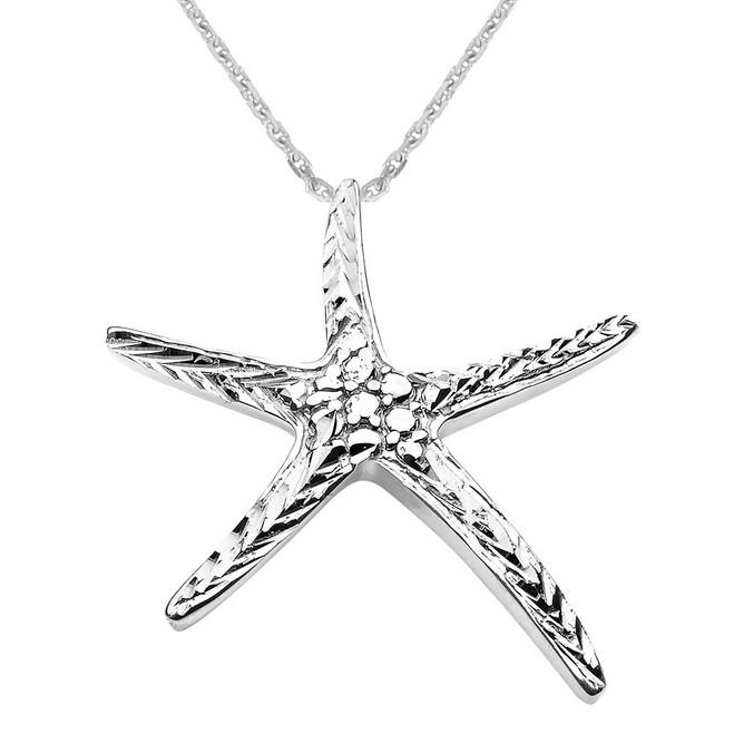 Sterling Silver Diamond Cut Starfish Pendant Necklace