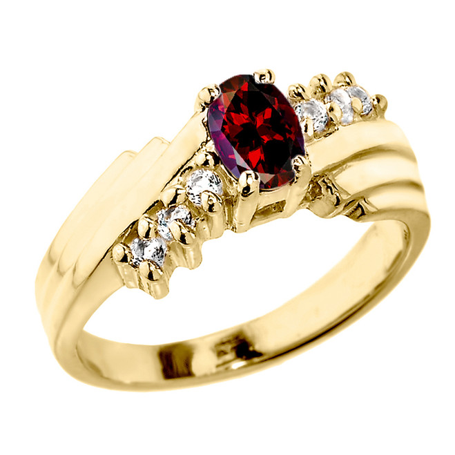 Dazzling Yellow Gold Diamond and Garnet Proposal Ring