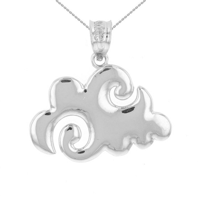 White Gold Swirling Cloud Pendant Necklace