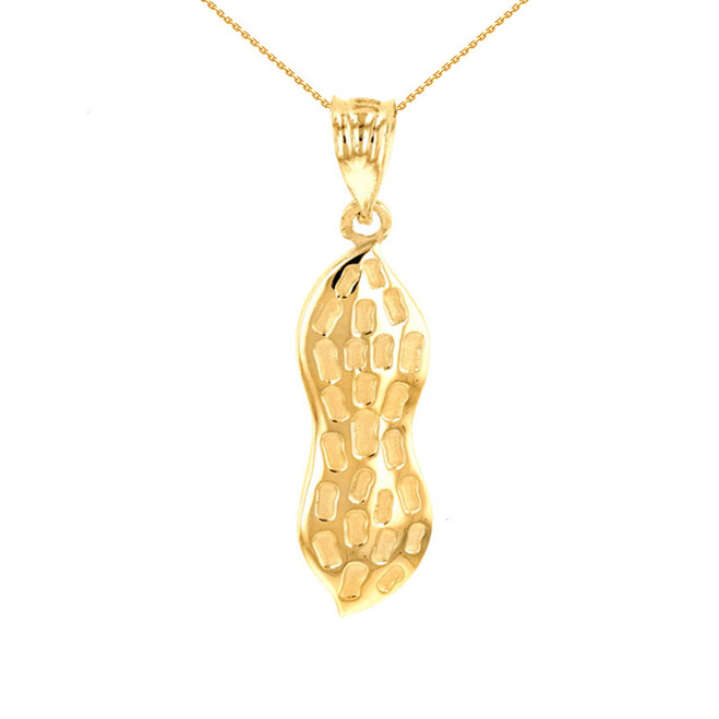 Yellow Gold Peanut Pendant Necklace