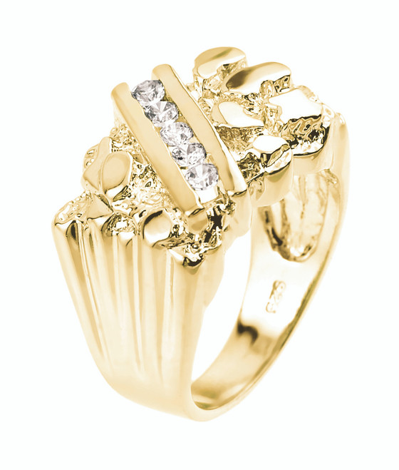 Yellow Gold Cubic Zirconia Men's Signet Nugget Ring