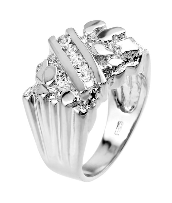 Sterling Silver Cubic Zirconia Men's Signet Nugget Ring