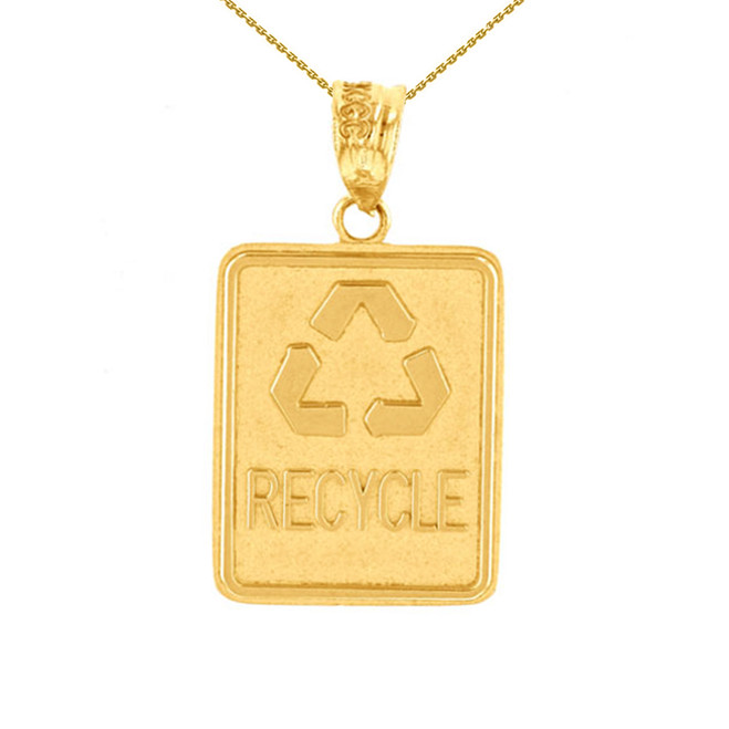 Yellow Gold Zero Waste Street Sign Recycling Pendant Necklace