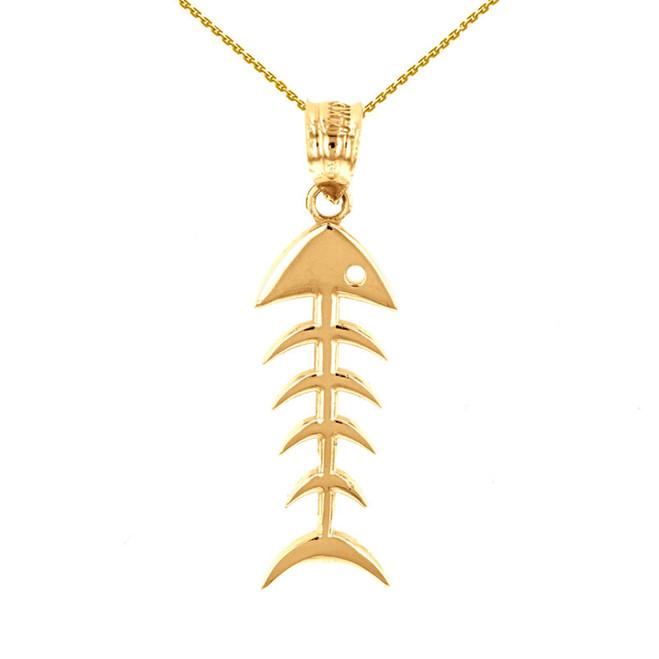 Yellow Gold Fish Bone Skeleton Pendant Necklace