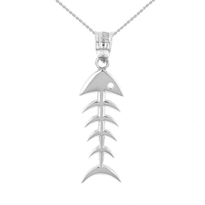 Sterling Silver Fish Bone Skeleton Pendant Necklace