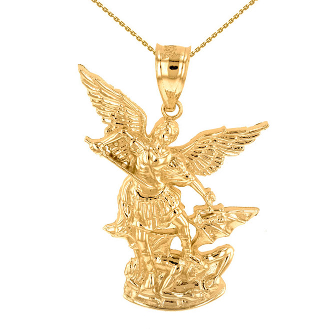 "Yellow Gold St Michael The Archangel Pendant Necklace (1.35"")"
