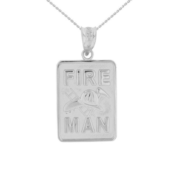White Gold Fire Man Emblem Pendant Necklace