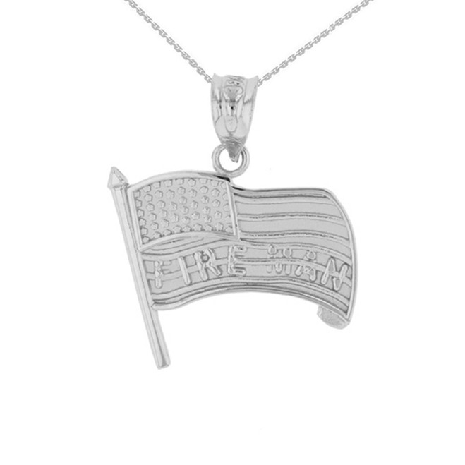 White Gold Fire Man American Flag Pendant Necklace