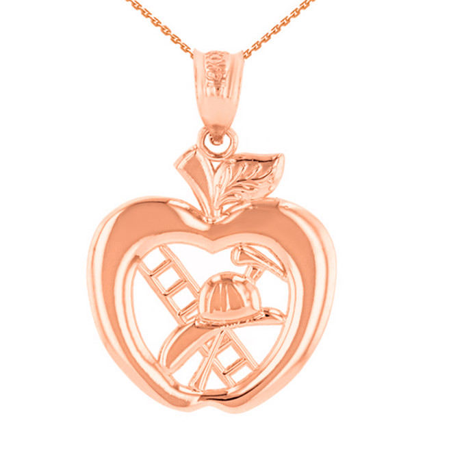 Rose Gold New York Fire Department Big Apple Firefighter Pendant Necklace