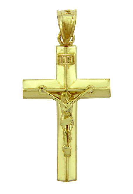 Yellow Gold Crucifix Pendant - The Line Crucifix