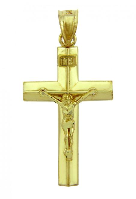 Yellow Gold Crucifix Pendant - The Line Crucifix
