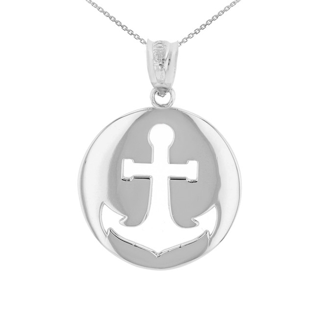 White Gold Anchor Nautical Pendant Necklace