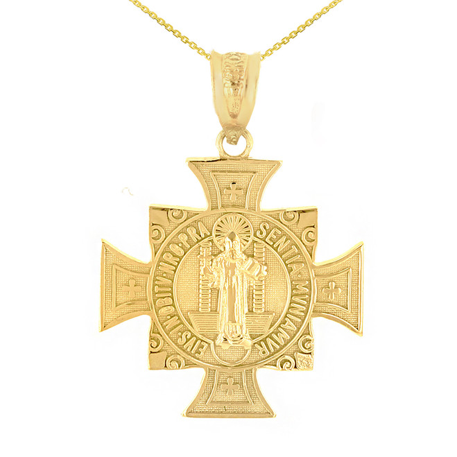 "Yellow Gold Saint Benedict Cross Pendant Necklace (1.06"")"