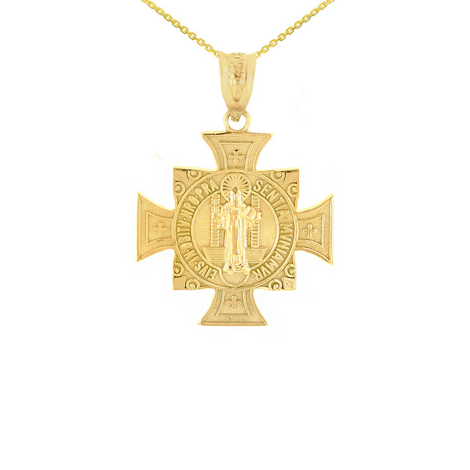 "Yellow Gold Saint Benedict Cross Pendant Necklace (0.97"")"