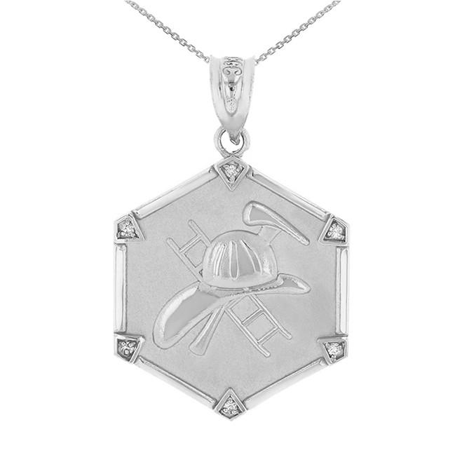 Sterling Silver Firefighter Hexagon Diamond Pendant Necklace