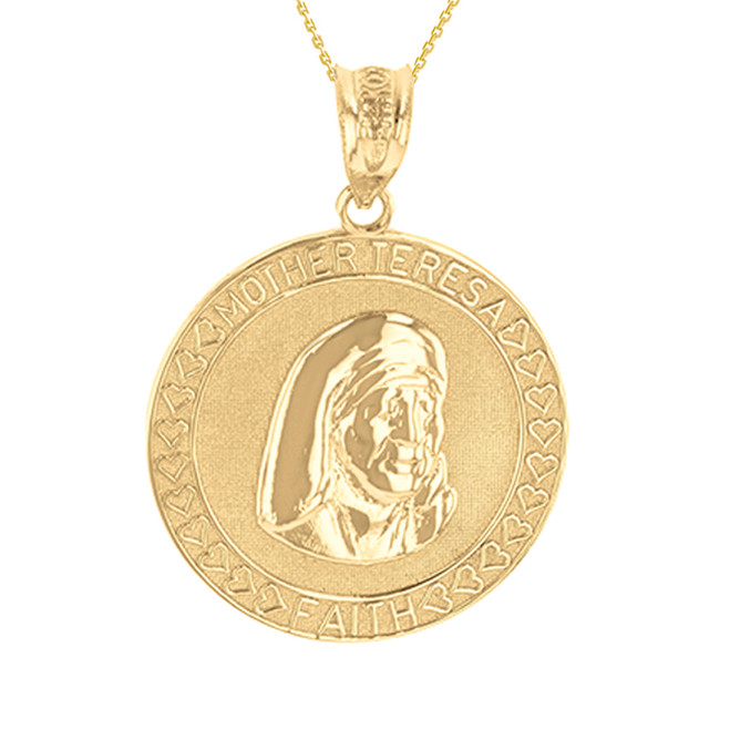 Yellow Gold Mother Teresa of Calcutta Pendant Necklace