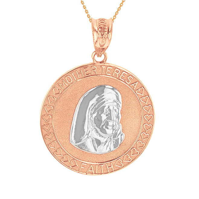 Two Tone Rose Gold Mother Teresa of Calcutta Pendant Necklace