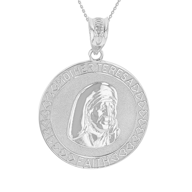 Sterling Silver Mother Teresa of Calcutta Pendant Necklace