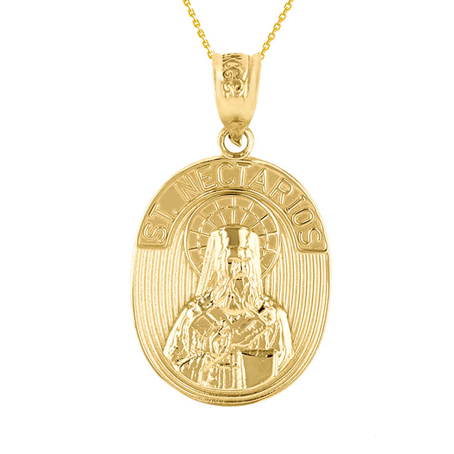 Yellow Gold Saint Nectarios of Aegina Greek Orthodox Engravable Pendant Necklace