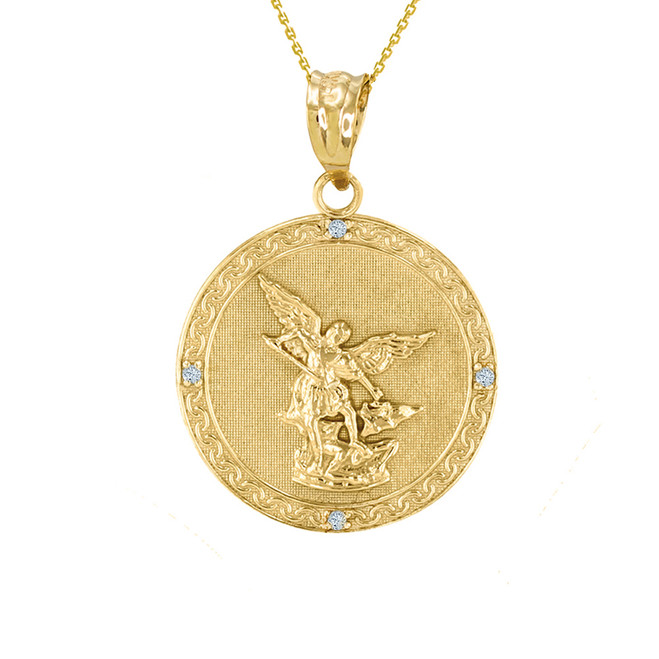 "Yellow Gold St Michael Archangel Diamond Pendant Necklace ( 1.02"" )"