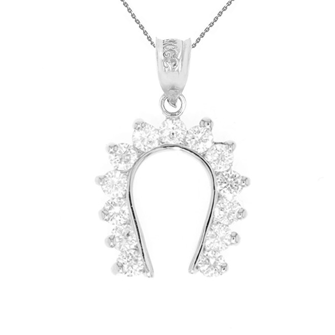 White Gold Good Luck Horseshoe Pendant Necklace