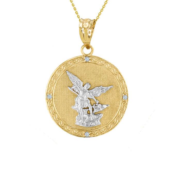"Two Tone Yellow Gold St Michael Archangel Diamond Pendant Necklace ( 1.02"" )"