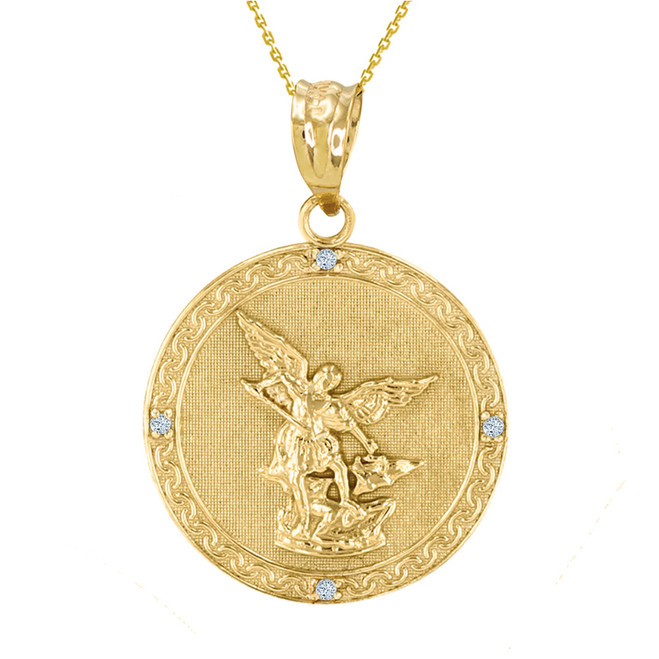 "Yellow Gold St Michael Archangel Diamond Pendant Necklace ( 1.14"" )"