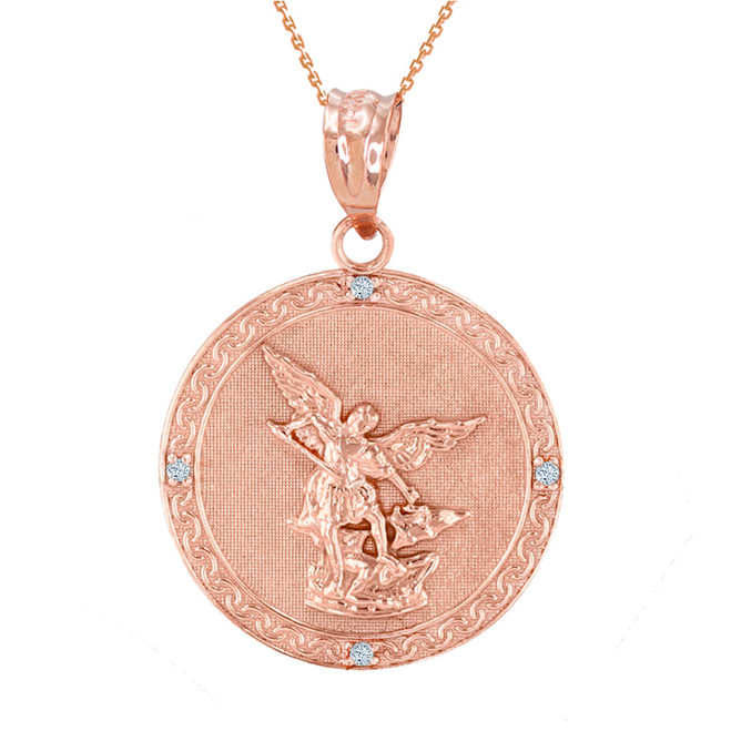 """Rose Gold St Michael Archangel Diamond Pendant Necklace ( 1.14"""" )"""