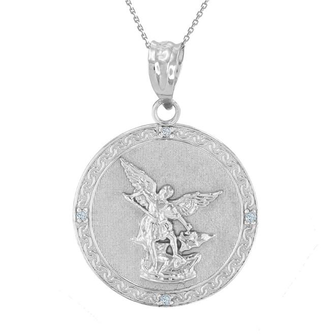"""Sterling Silver St Michael Archangel CZ Pendant Necklace ( 1.14"""" )"""