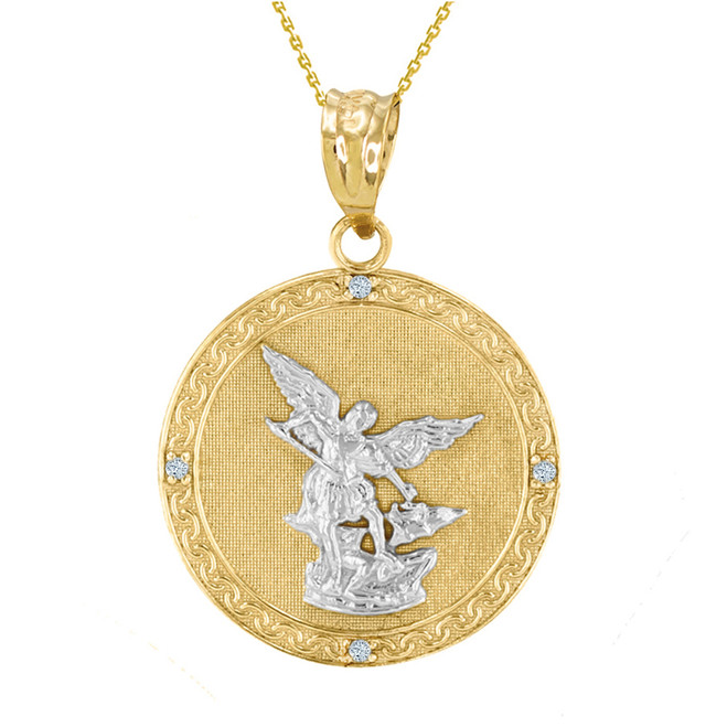 "Two Tone Yellow Gold St Michael Archangel Diamond Pendant Necklace ( 1.14"" )"