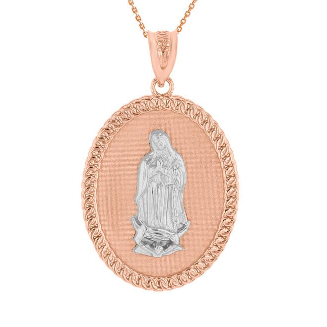 """Two Tone Solid Rose Gold Cuban Link Framed Virgen de Guadalupe Oval Medallion Pendant Necklace  (1.29"""")"""