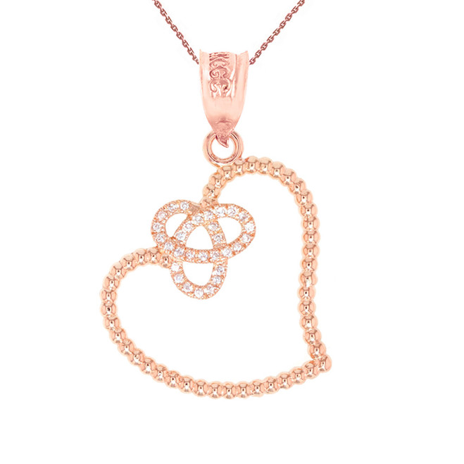 Rose Gold Trinity Heart and Diamond Pendant Necklace