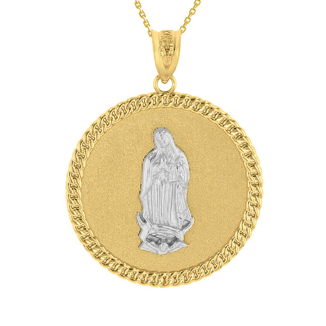 """Two Tone Solid Yellow Gold Cuban Link Framed Virgen de Guadalupe Circle Medallion Pendant Necklace (1.18"""")"""