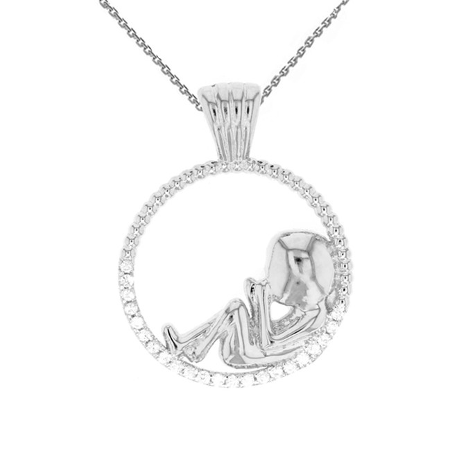 White Gold Baby in Womb Pendant Necklace