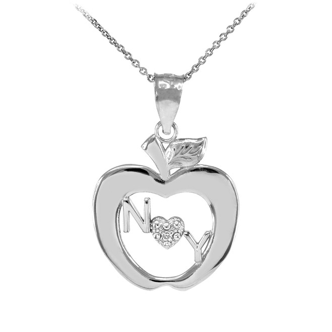 Sterling Silver New York Big Apple CZ Pendant Necklace