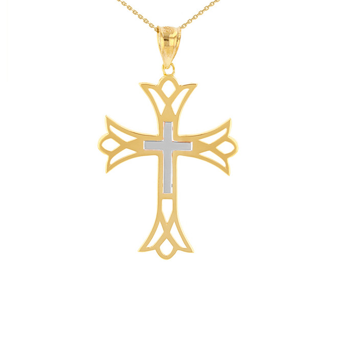 "Two Tone Solid Yellow & White Gold Layered Cutout Cross Pendant Necklace  ( 1.27"")"