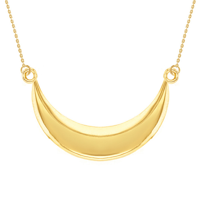 14K Solid Yellow Gold Moon Crescent Pendant Necklace