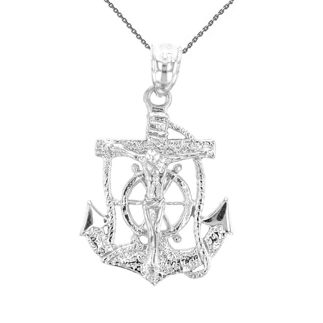 White Gold Mariners Anchor Crucifix Pendant Necklace
