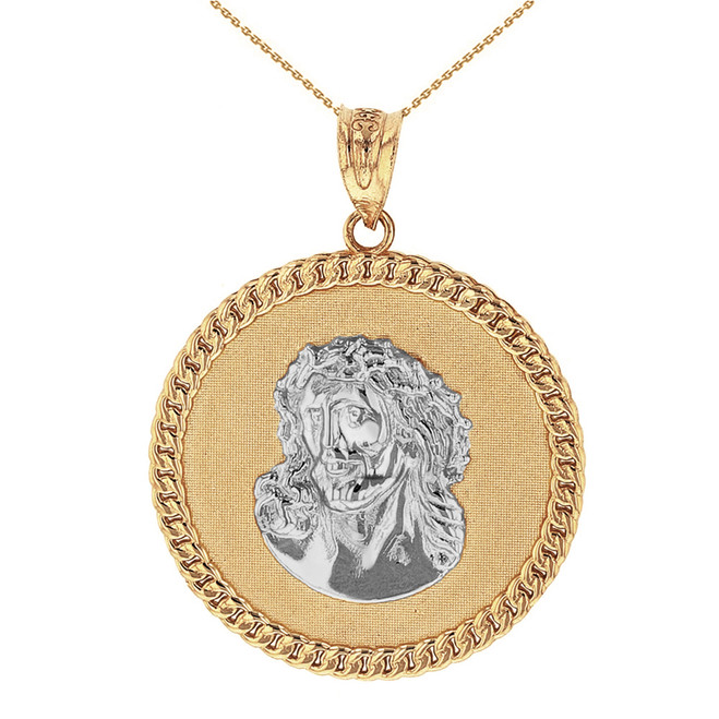 Two Tone Solid Yellow Gold  Cuban Curb Link Frame Circle Jesus Christ Medallion Pendant Necklace