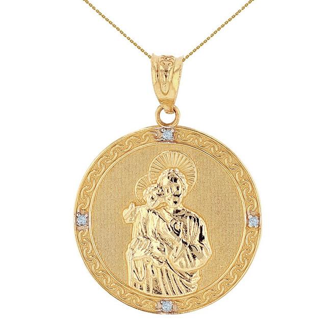 "Solid Yellow Gold Saint Joseph Diamond Medallion Pendant Necklace  1.15"" ( 29 mm)"