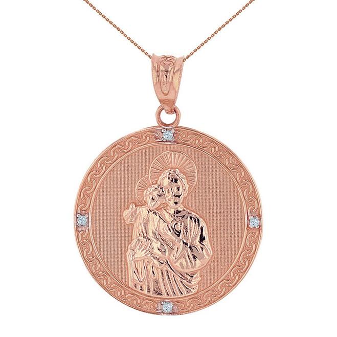 "Solid Rose Gold Saint Joseph Diamond Medallion Pendant Necklace  1.15"" ( 29  mm)"